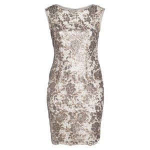Adrianna Papell Floral Sequin Embroidery Dress 4